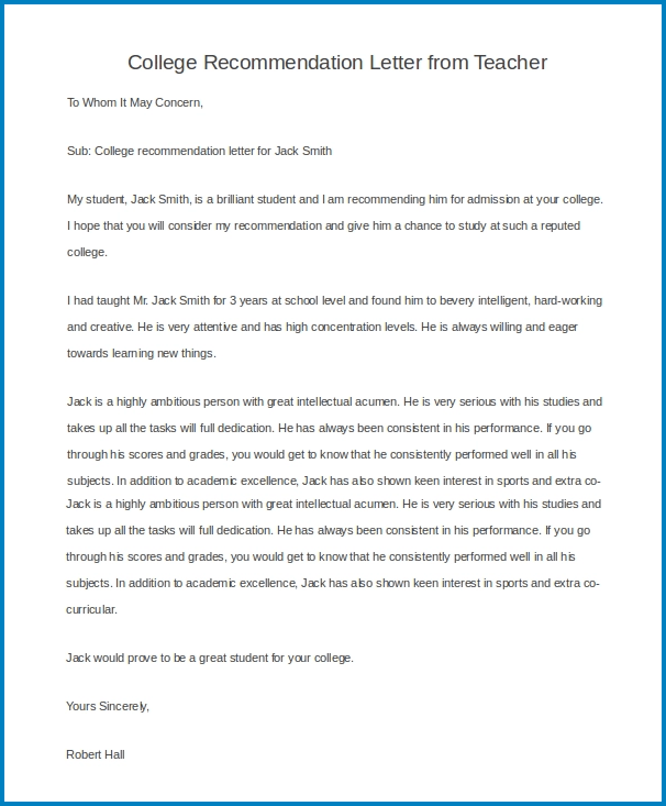 College Letter Of Recommendation from www.templateral.com