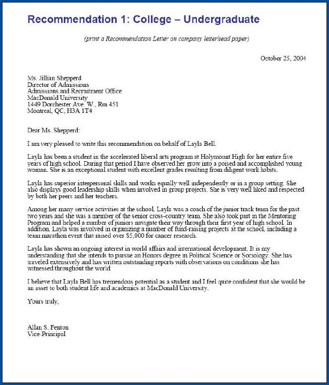 Example of College Recommendation Letter Template