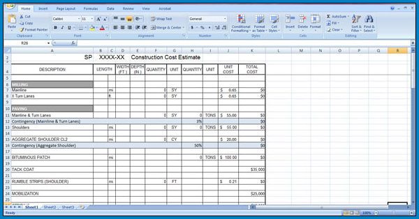 Example of Construction Cost Estimate Template