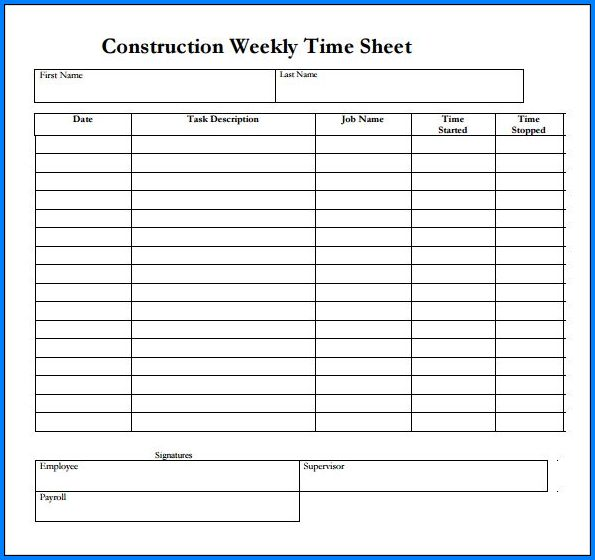 Example of Construction Timesheet Template