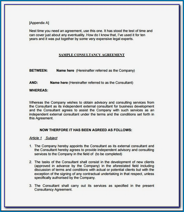 Example of Consultancy Agreement Template