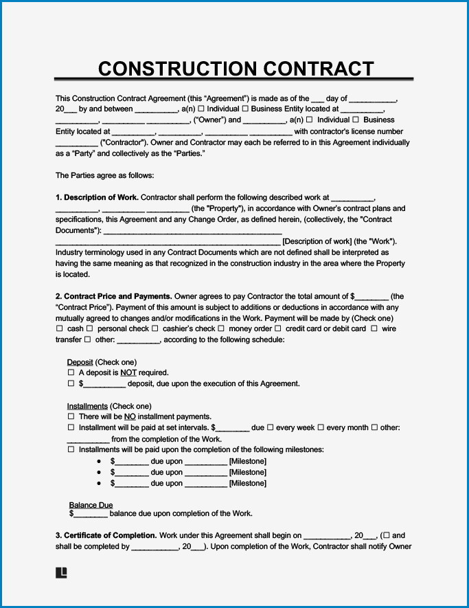 Example of Contractor Agreement Template
