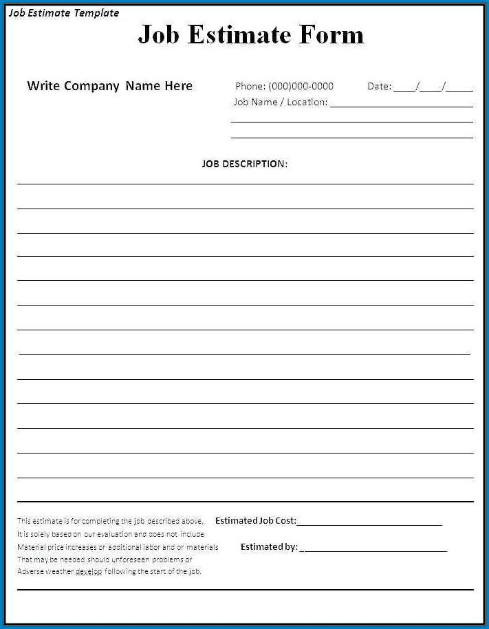 Example of Contractor Bid Sheet Template