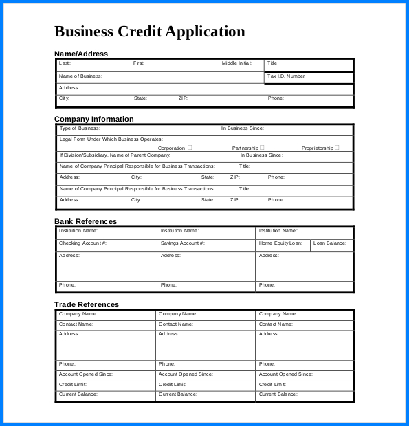 Example of Credit Application Form