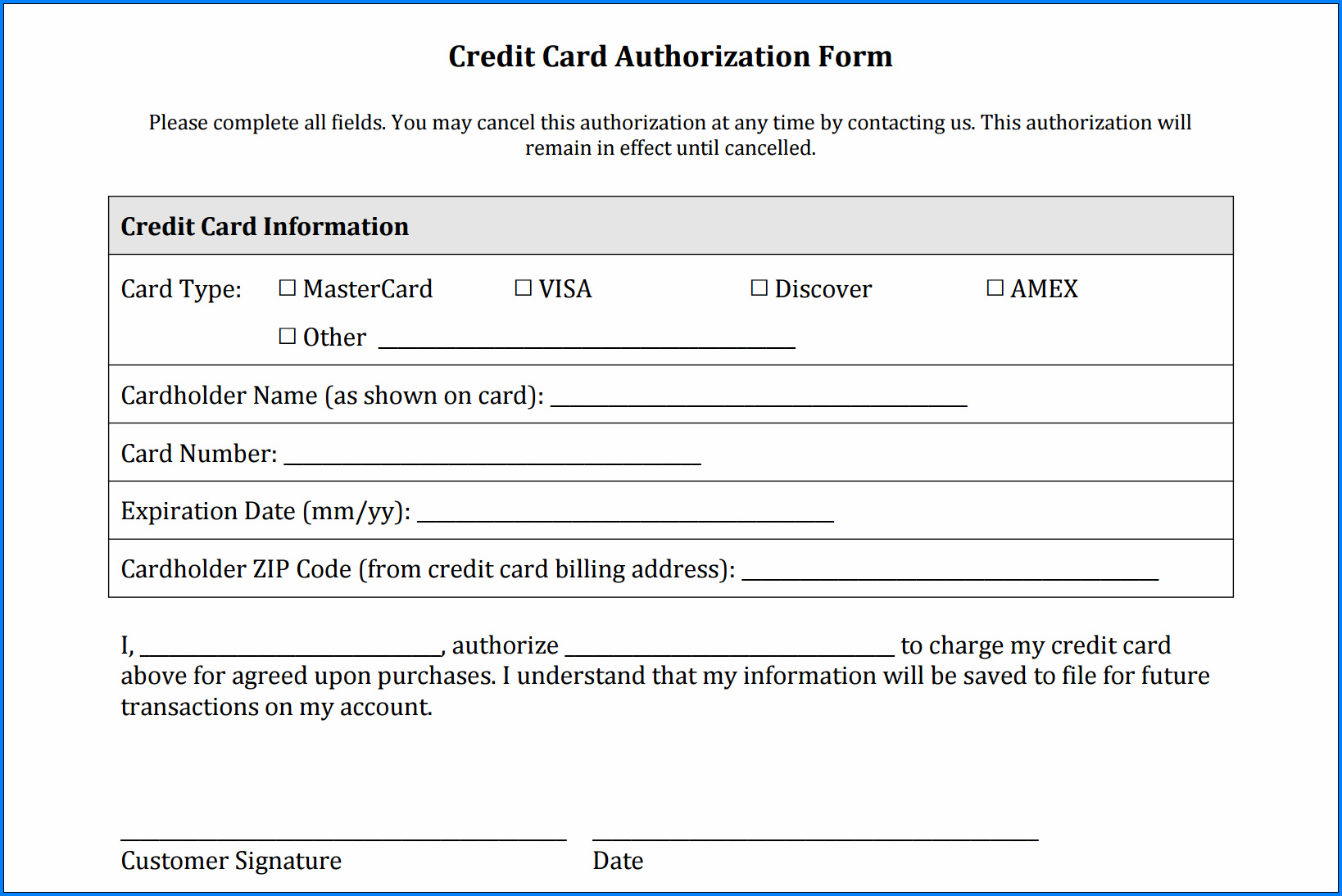 Example of Credit Card Application Form