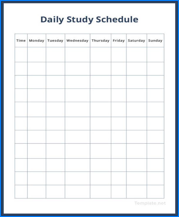 Example of Daily Schedule Template