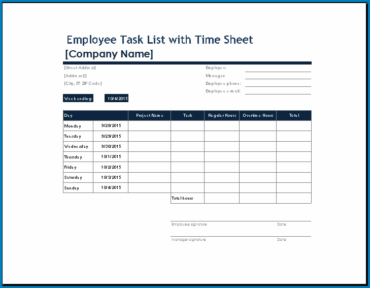 Example of Daily Task List Template For Work