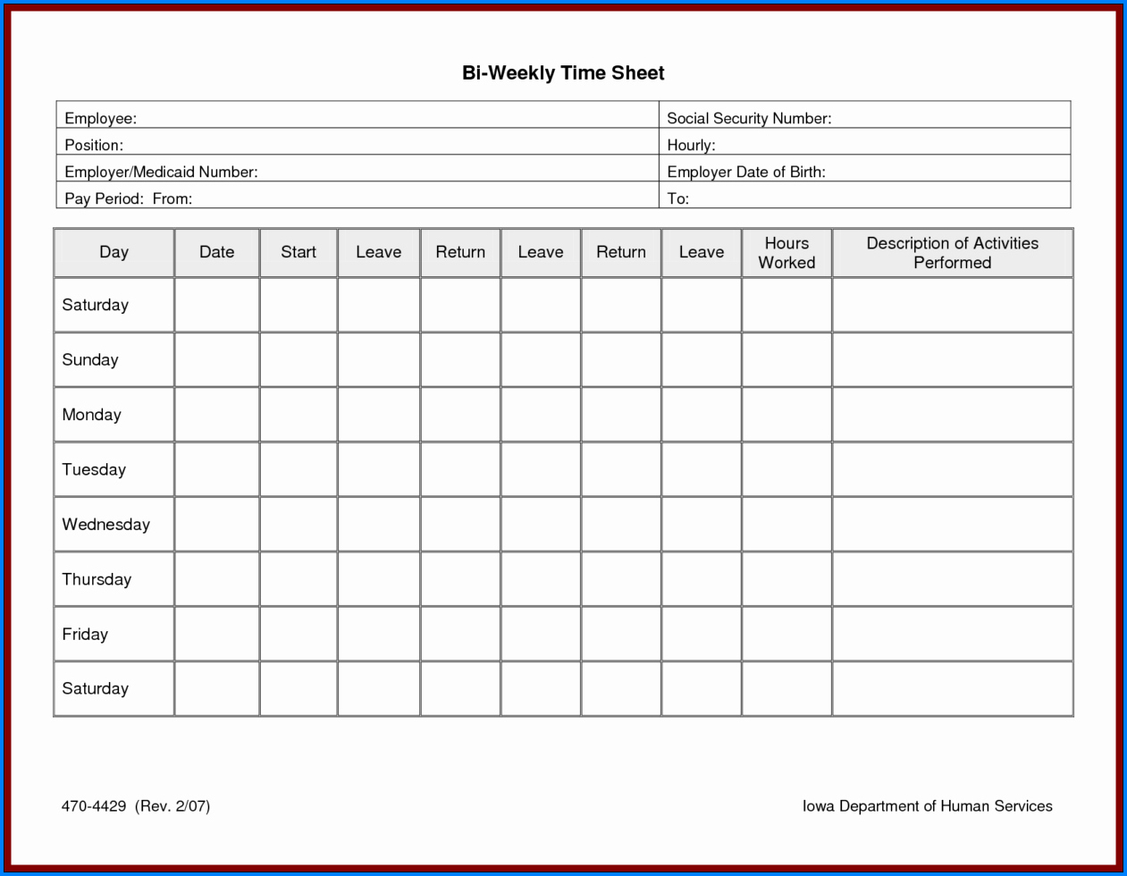 Example of Daily Timesheet Excel Template