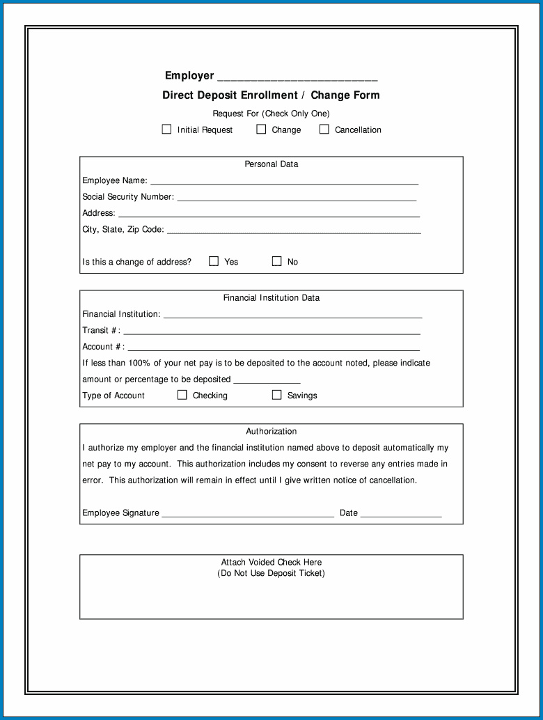 Example of Direct Deposit Enrollment Form