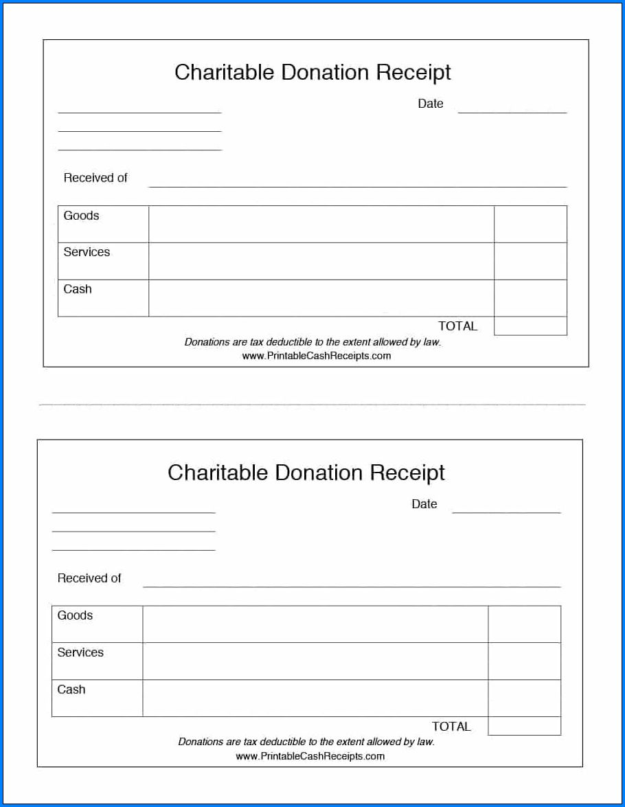Example of Donation Receipt Template