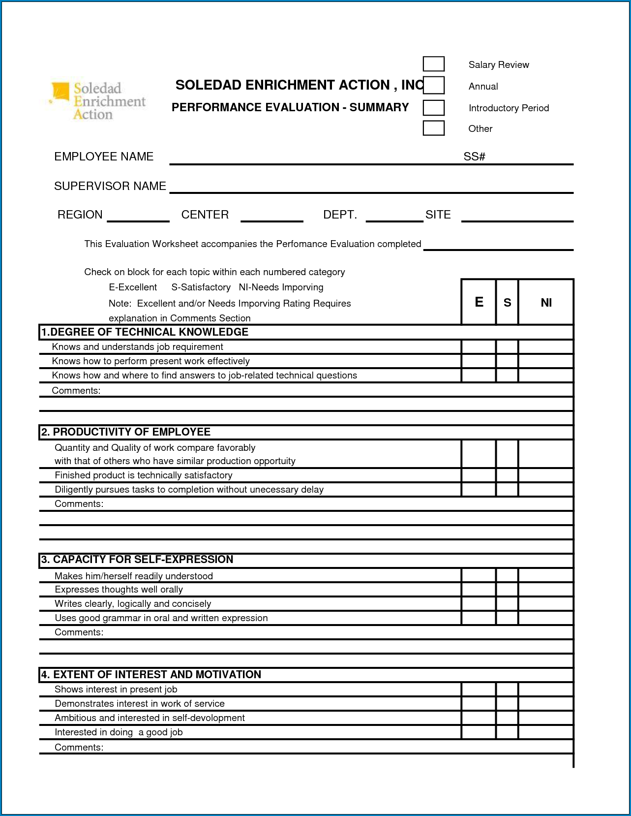 Example of Employee Performance Appraisal Form