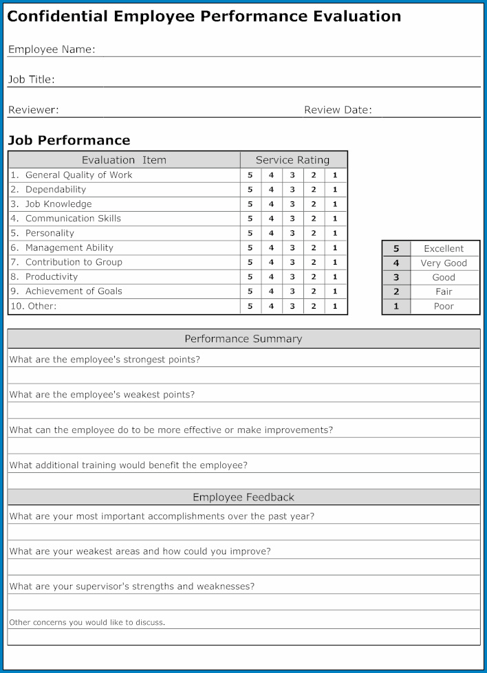 Example of Employee Performance Evaluation Form