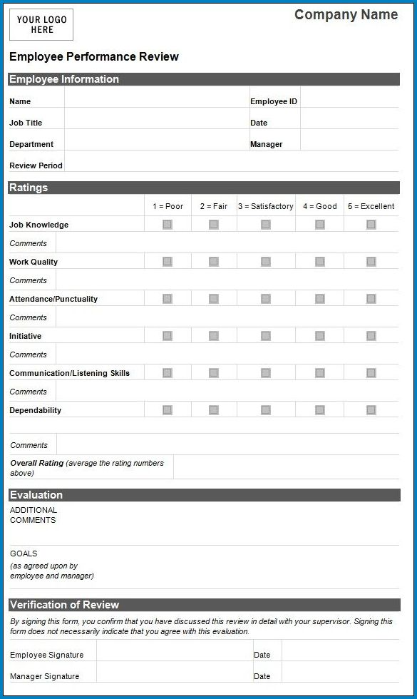 Example of Employee Performance Review Template