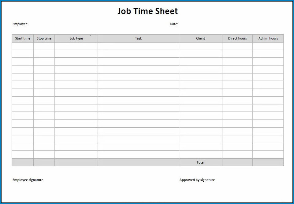 Example of Employee Time Sheet Form