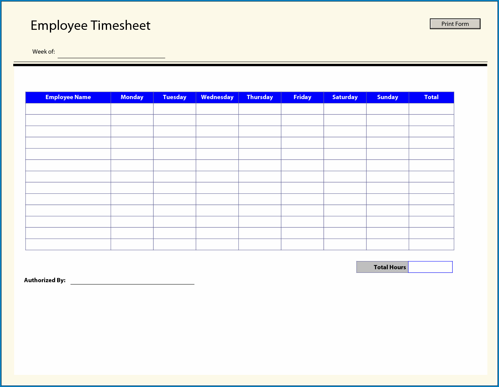 Example of Employee Time Tracking Excel