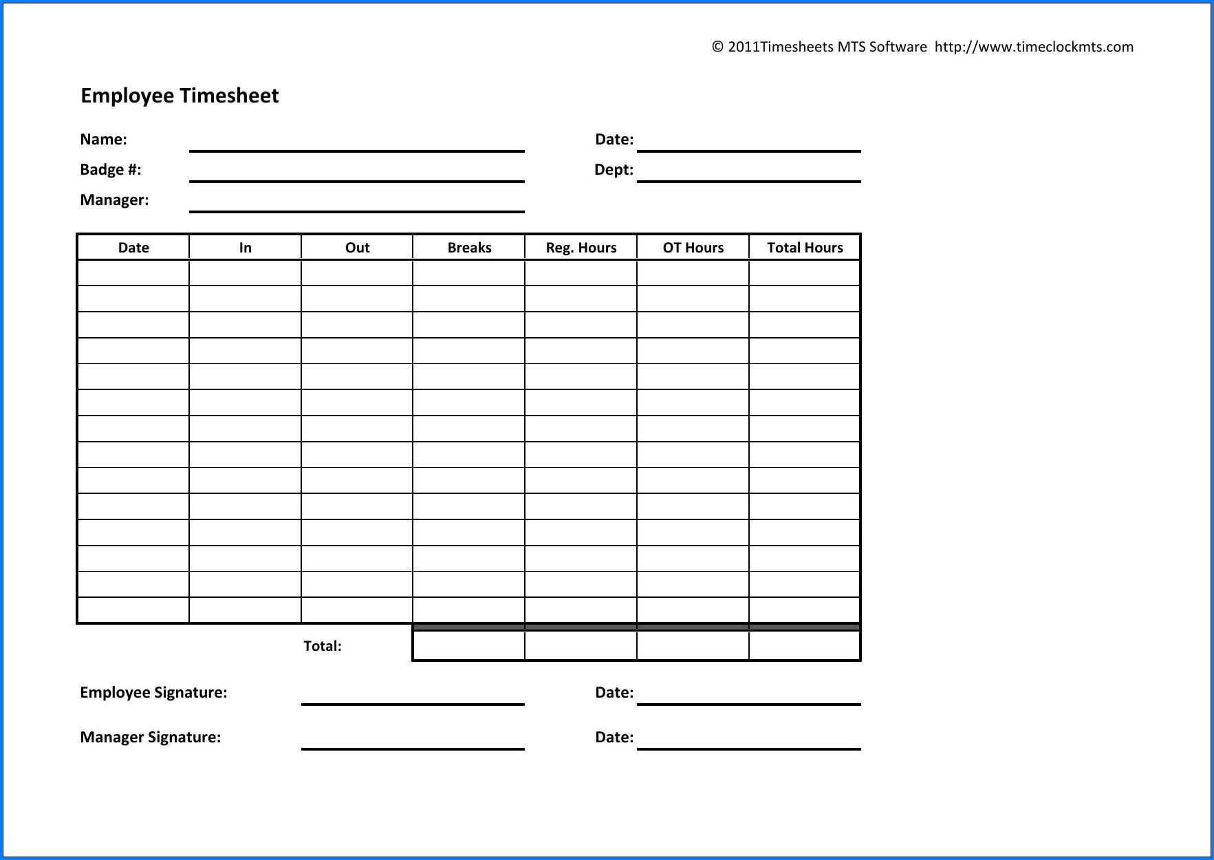 Example of Employee Timesheet Template