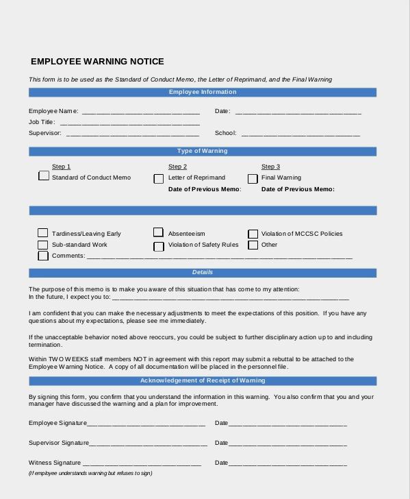 Example of Employee Warning Form