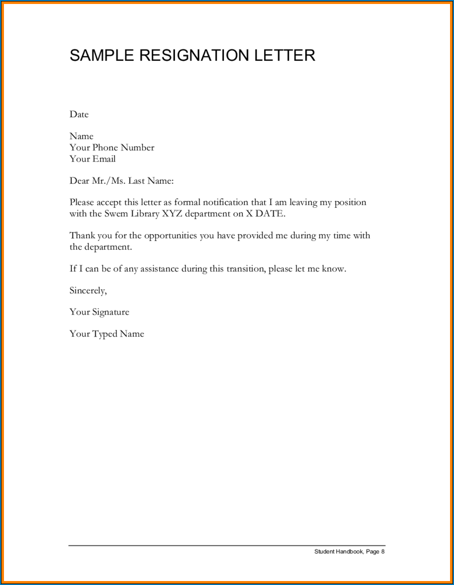 Example of Employment Resignation Letter Template