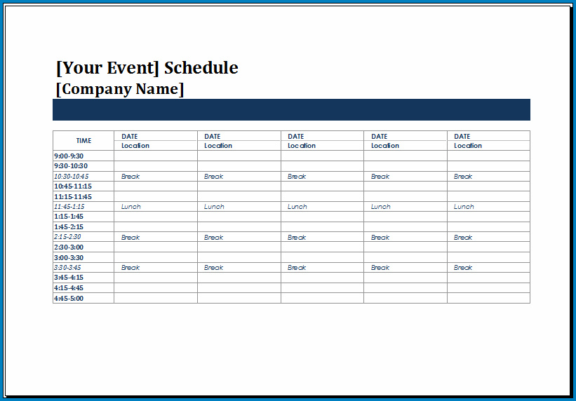 Example of Event Schedule Template