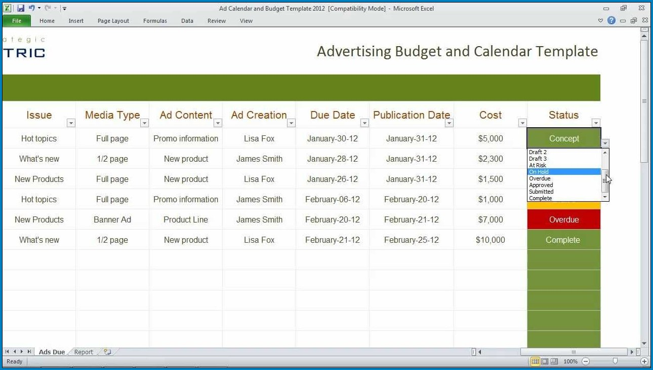 Example of Excel Budget Calendar Template