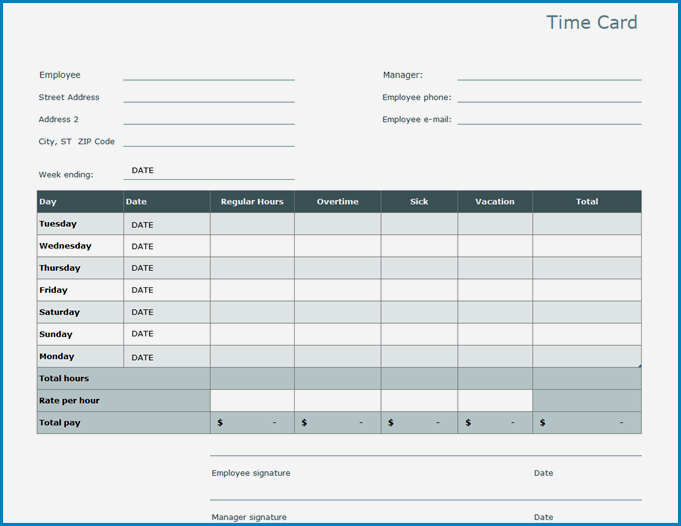 Example of Excel Timesheet Template