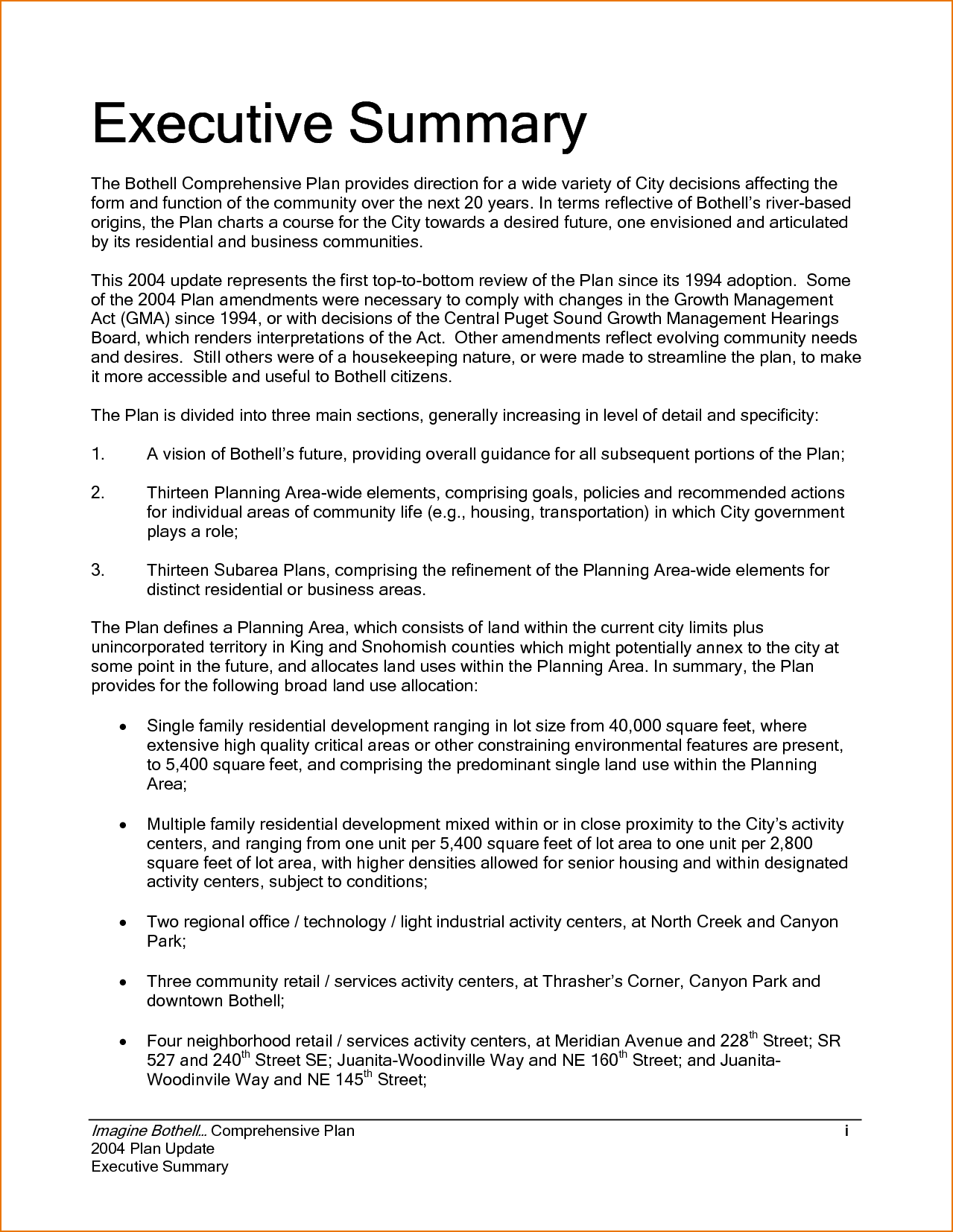 Example of Executive Summary Template