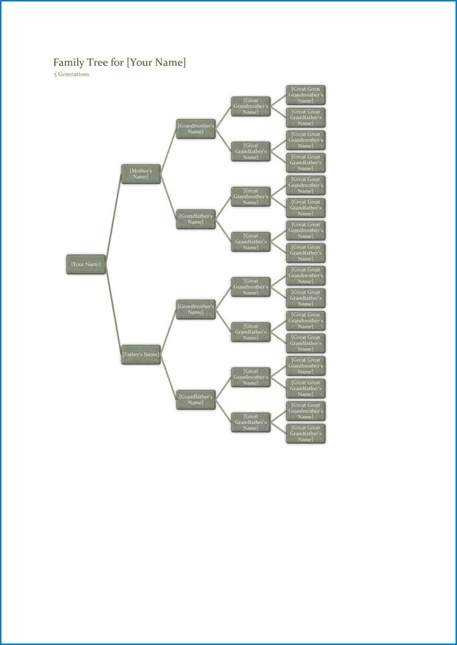 Example of Family Tree Template Excel