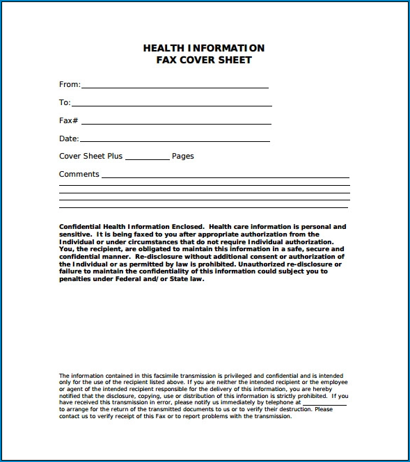 Example of Fax Cover Letter Template
