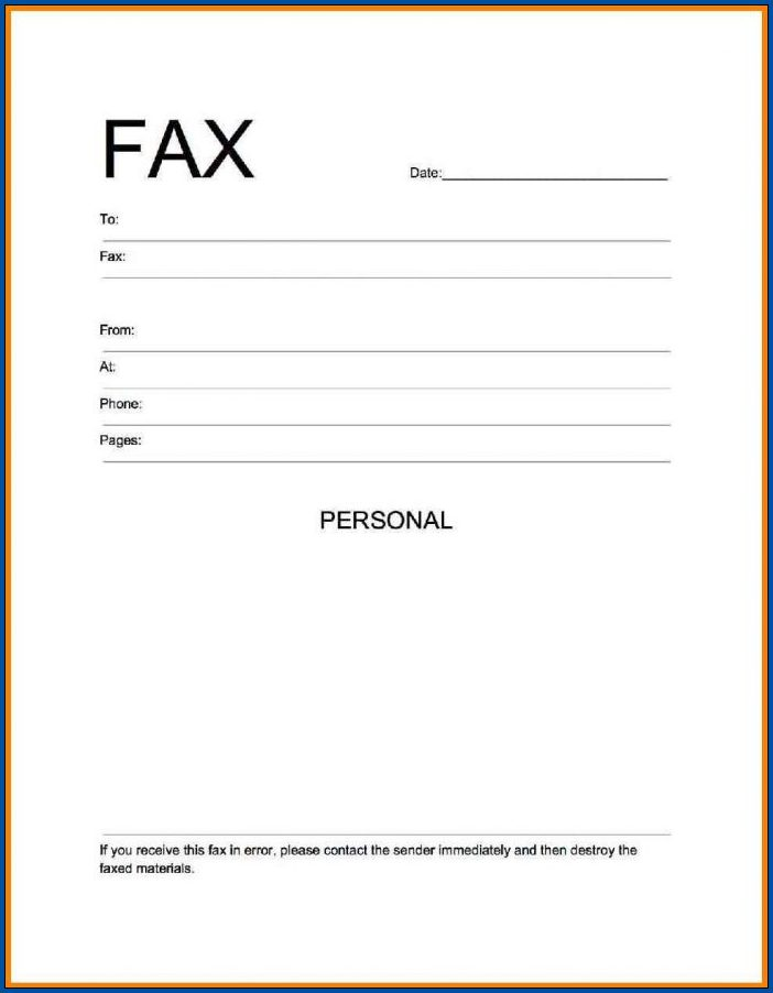 Example of Fax Cover Sheet Word Template
