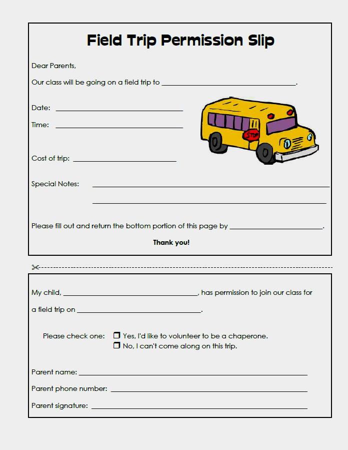 Example of Field Trip Permission Slip Template