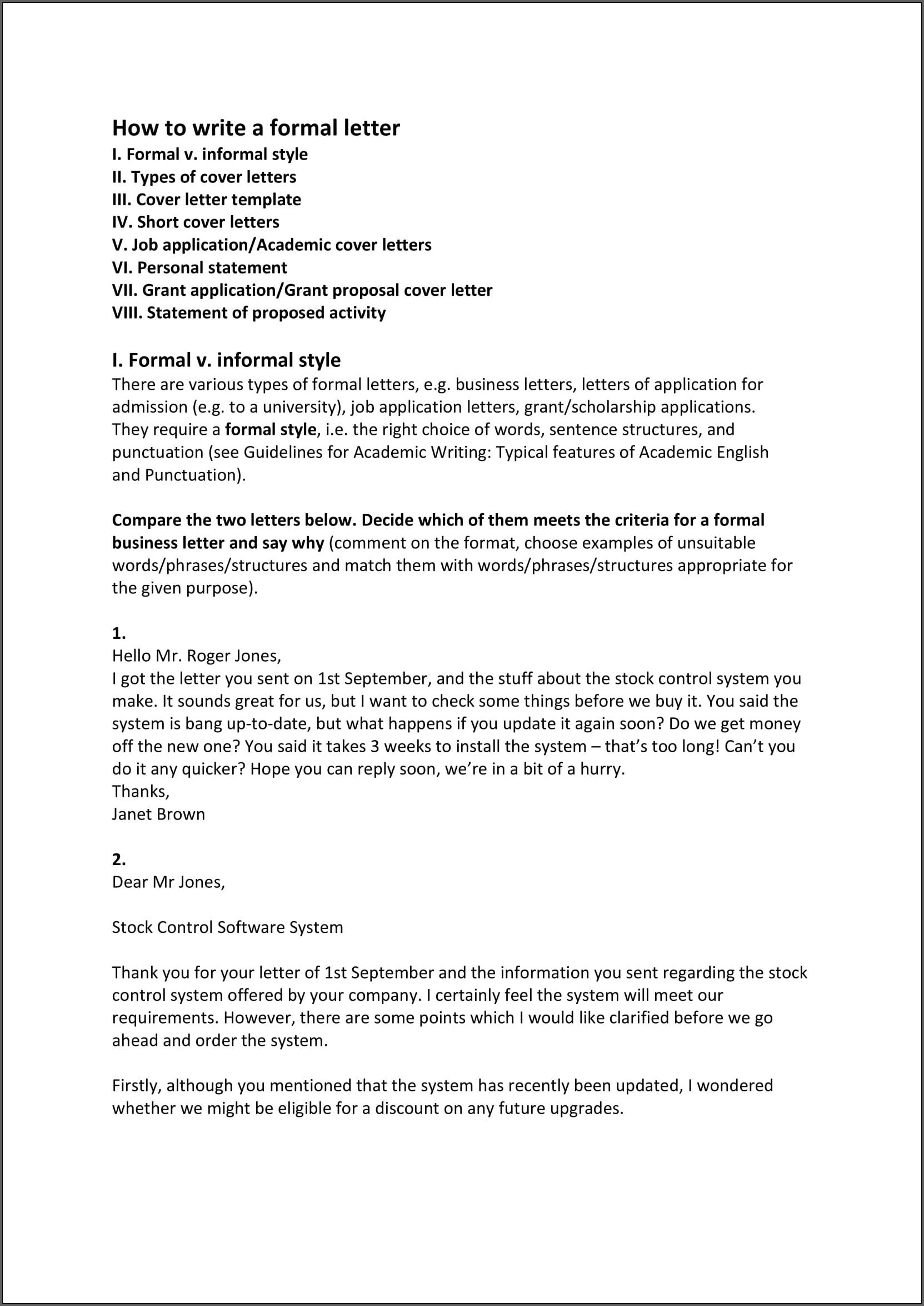 Example of Formal Business Letter Template