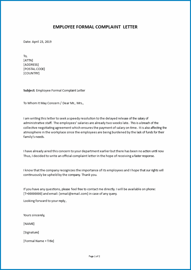 Example of Formal Letter Of Complaint Template