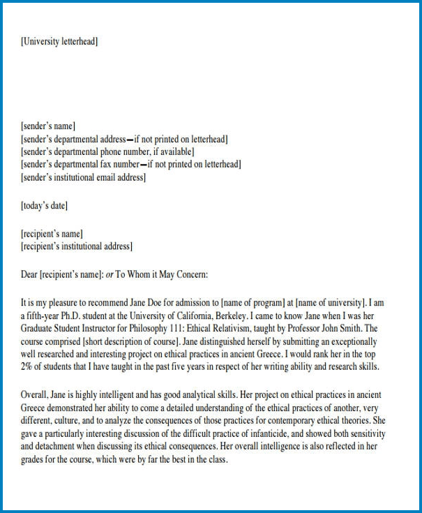 Example of Formal Letter Of Recommendation Template