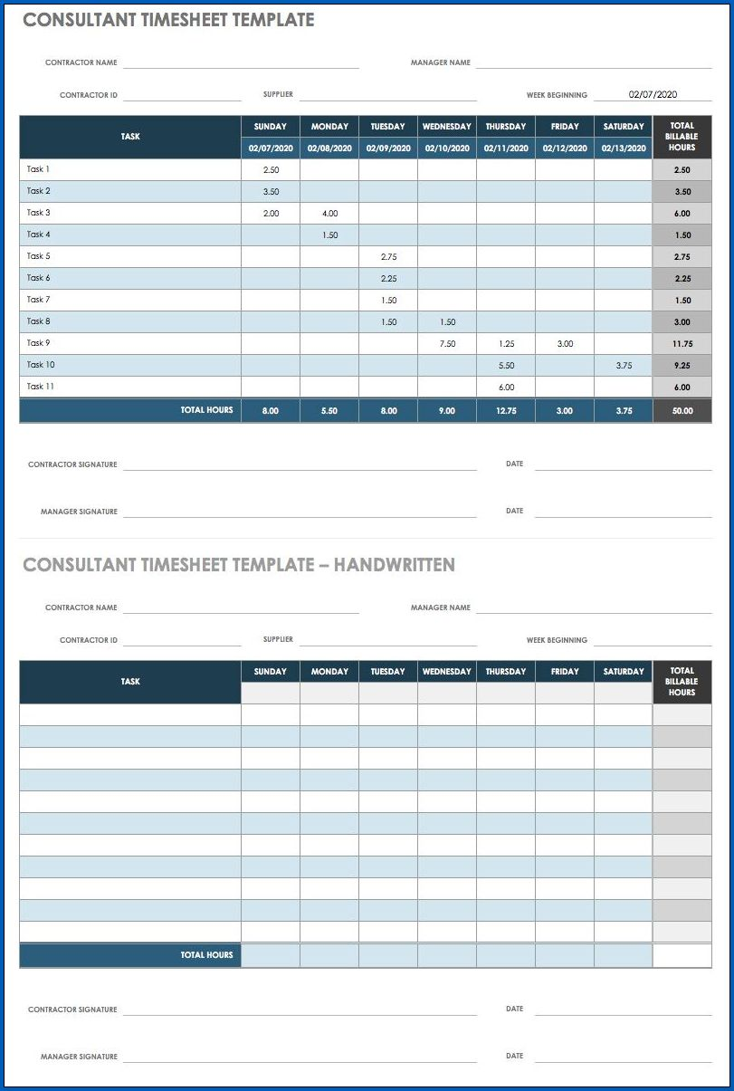 Example of Free Excel Timesheet Template Multiple Employees