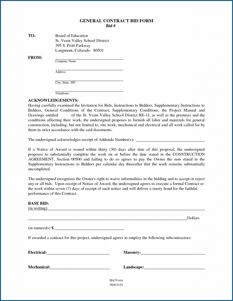 Example of General Contractor Agreement Template