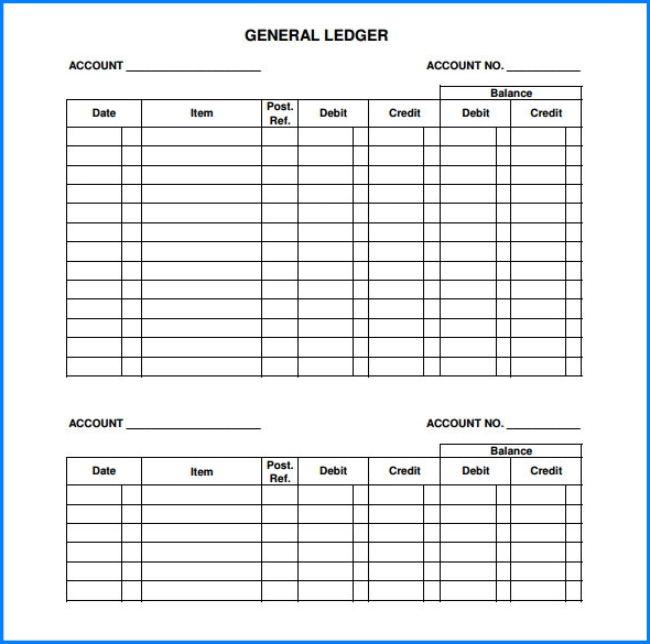 Example of General Ledger Template