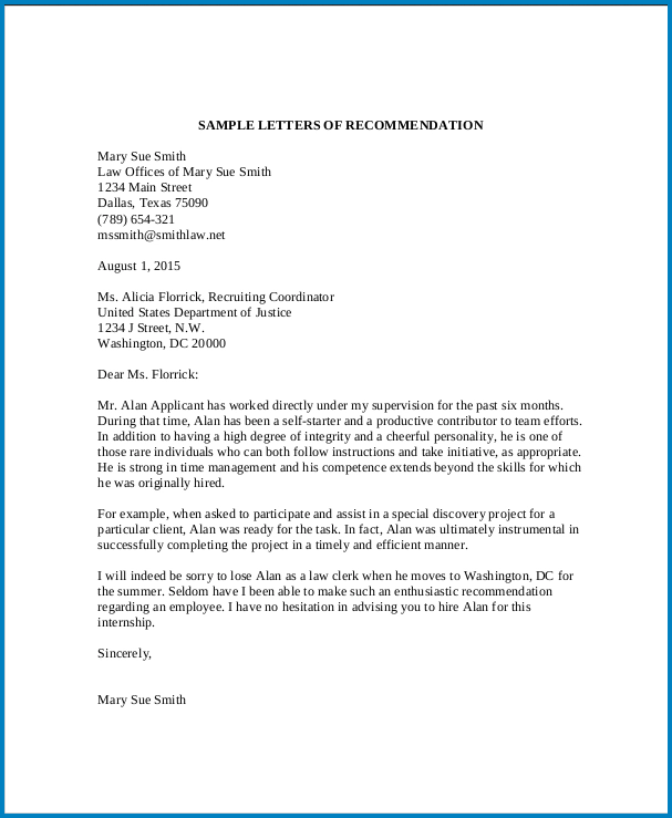 Example of General Letter Of Recommendation Template