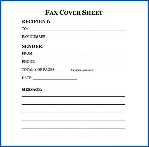 Example of Generic Fax Cover Sheet Template
