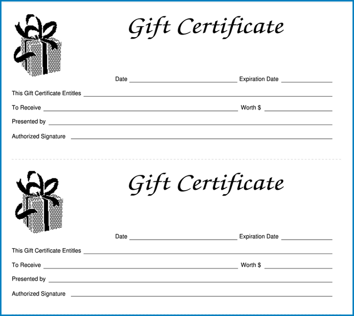 Example of Gift Certificate Template