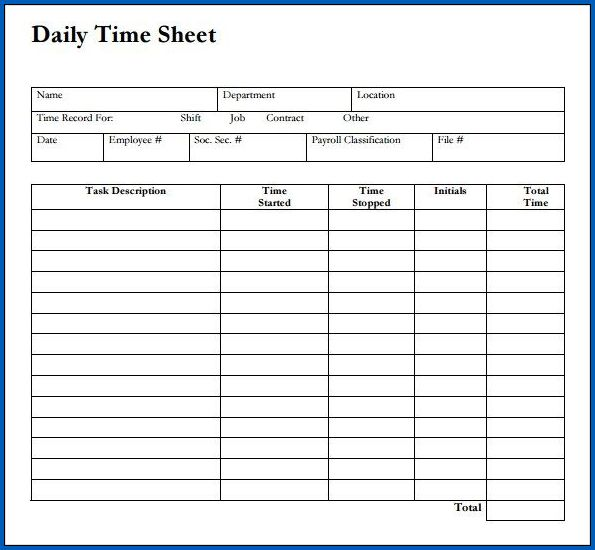 Example of Google Sheets Daily Timesheet Template