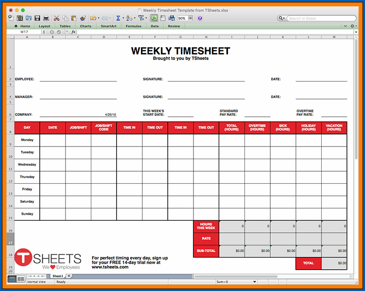 Example of Google Sheets Timesheet Template
