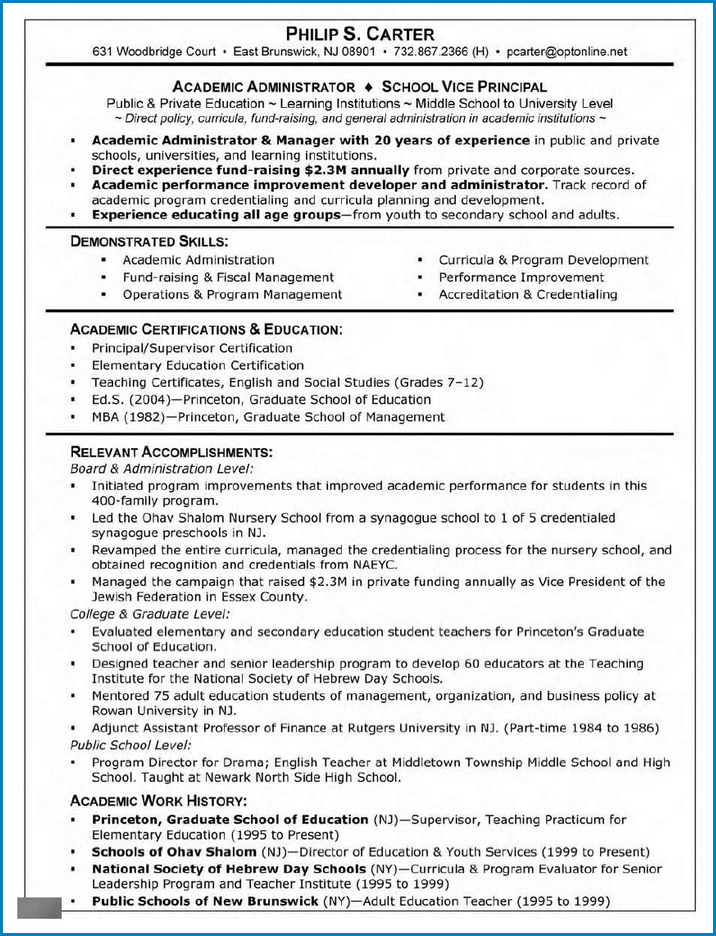 Example of Graduate School Resume Template