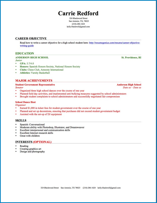 High School Student Resume Template No Experience Templateral
