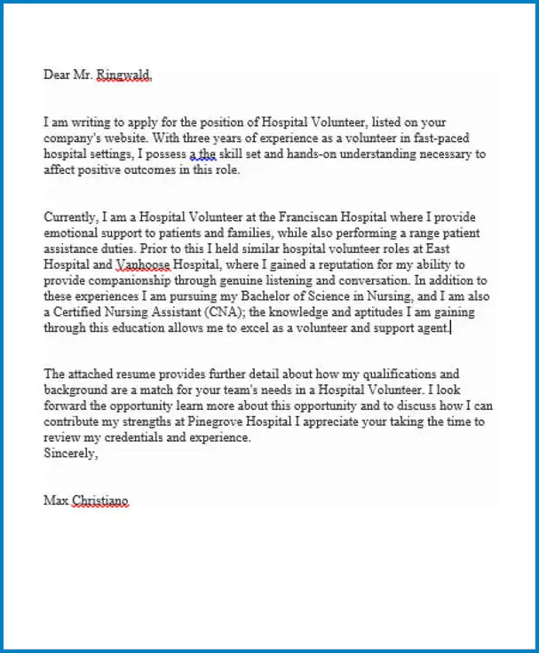 Example of Hospital Job Cover Letter Template