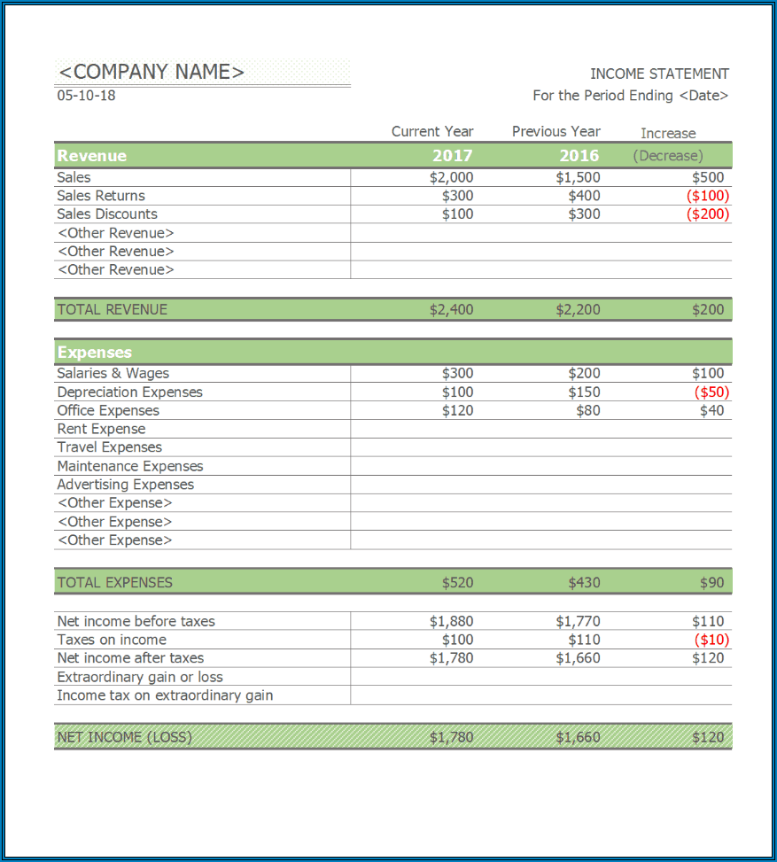Example of Income Statement Template