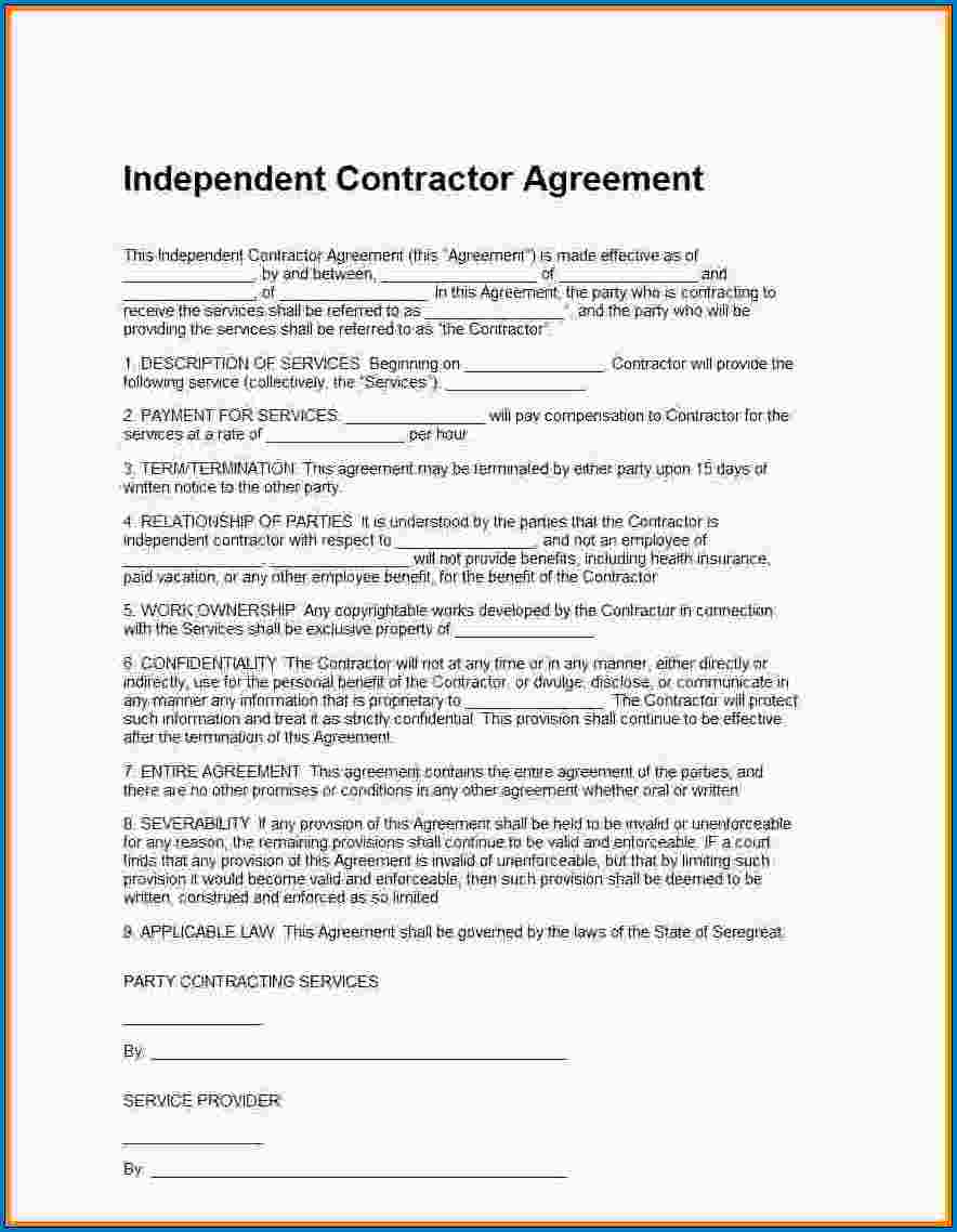 Example of Independent Contractor Agreement