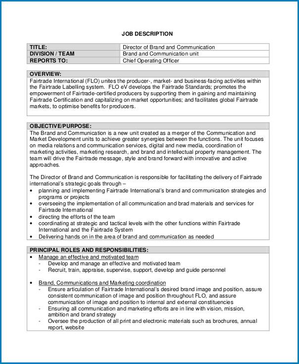 Example of Job Description Template