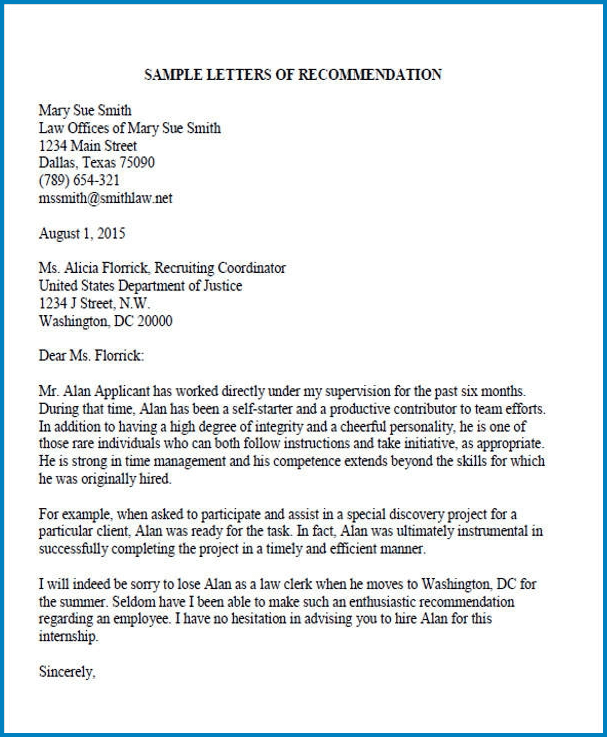 Example of Law School Letter Of Recommendation