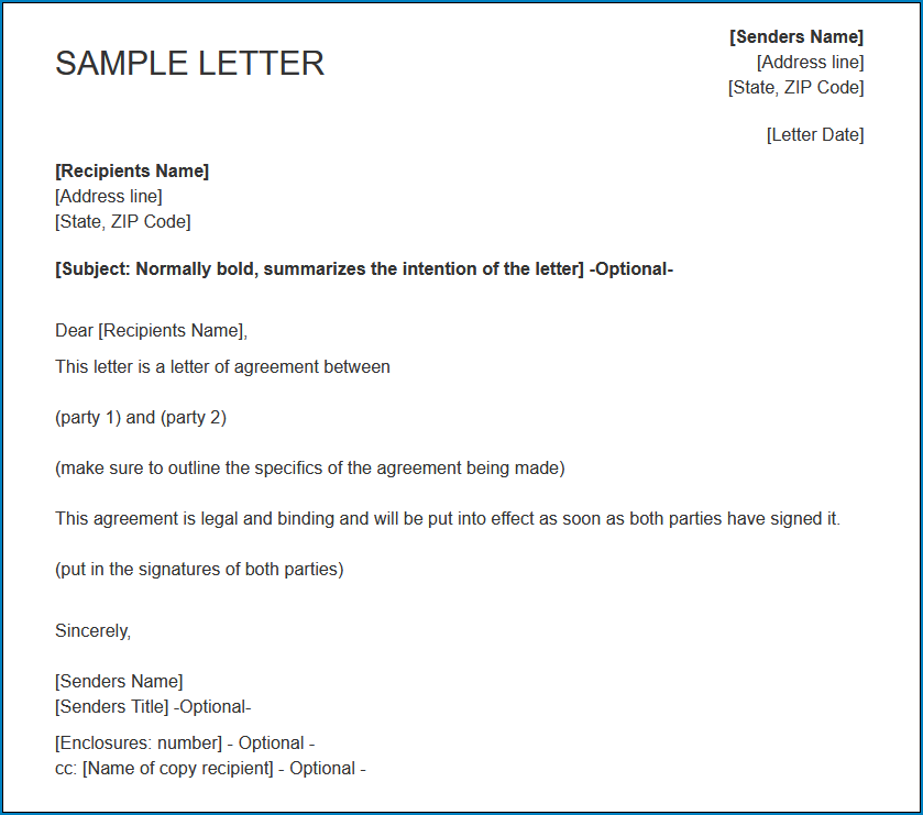 Example of Letter Of Agreement Between Two Parties