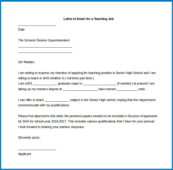 Example of Letter Of Intent For Teaching Job